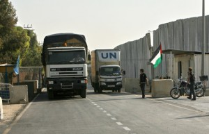 A U.N. humanitarian aid shipment for Gaza (SAID KHATIB/AFP/Getty Images)