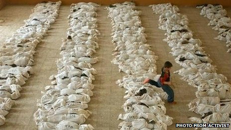 The BBC ran this photo claiming it showed victims of the massacre in Houla when in fact the image was taken in Iraq in 2003.