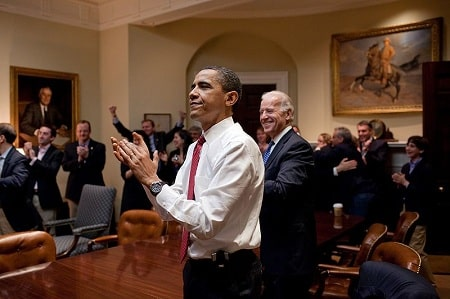 President Obama, Vice President Biden, and senior staff react to the passage of the Affordable Care Act on March 21, 2010 (Pete Souza)