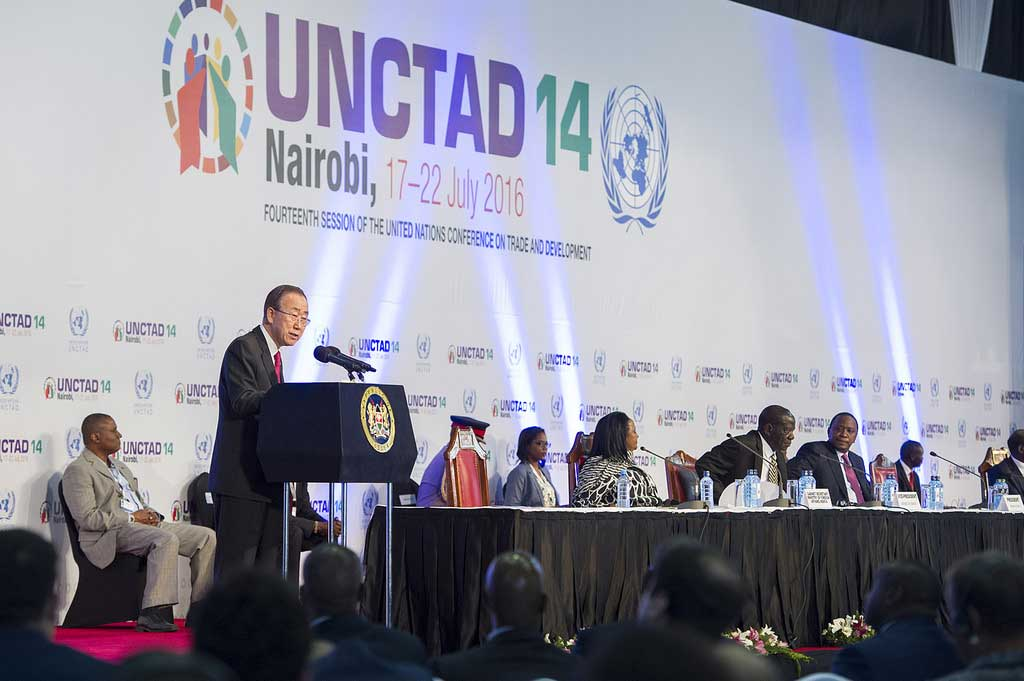 Secretary-General Ban Ki-moon (at podium) makes remarks at the opening of the fourteenth UN Conference on Trade and Development (UNCTAD), taking place in Nairobi, 17-22 July 2016. (UNCTAD/CC BY-SA 2.0)