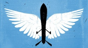 """An image of a drone with angel wings that accompanies Scott Shane's article """"The Moral Case for Drones"""" on the New York Times website (Vahram Muradyan/New York Times; reproduced here under the """"fair use"""" clause of U.S. copyright law, 17 U.S.C. § 107, for news reporting, commentary, and criticism)"""