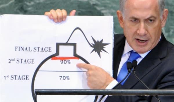 "Benjamin Netanyahu draws his ""red line"" for Iran's uranium enrichment at the U.N. General Assembly in September 2012."