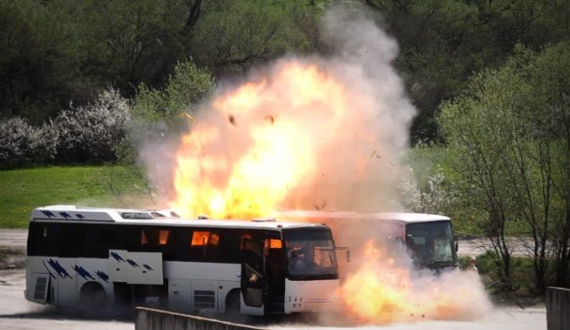 A reenactment of the Burgas bus bombing (AP)