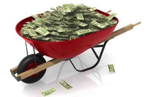Wheelbarrow full of fiat currency