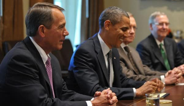 President Obama discusses the debt ceiling with House Speaker John Boehner (Getty Images)