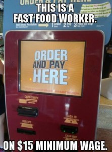 Fast food worker on a $15 minimum wage