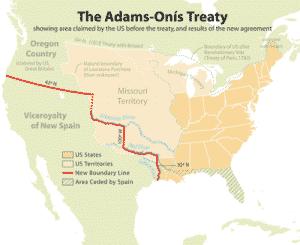 Adams Onis Treaty map