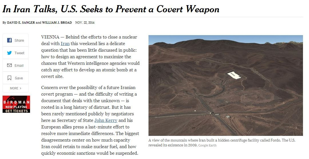 New York Times Iran Propaganda: The Secret Fordo Plant 'Revealed' by the US