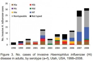 Graph showing the number of invasive H. influenzae infections among adults by serotype (Rubach, et al). Click to enlarge.