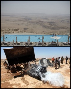 Top: Israelis swimming in a pool overlooking the Negev desert (Uriel Sinai/New York Times). Bottom: Palestinians watch helplessly as an Israeli bulldozer destroys their water cistern in the occupied West Bank (Abed Al Hashlamoun/EPA).