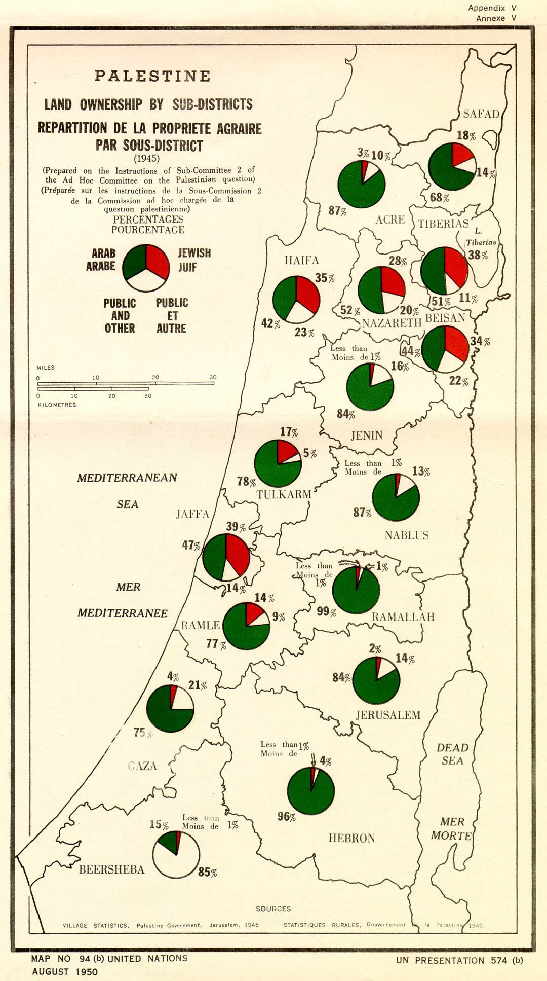 Map showing Palestine land ownership statistics from 1945, prepared by the UN Ad Hoc Committee on the Palestinian Question, a subcommittee of the UN Committee on Palestine (UNSCOP), which produced the infamous UN partition plan