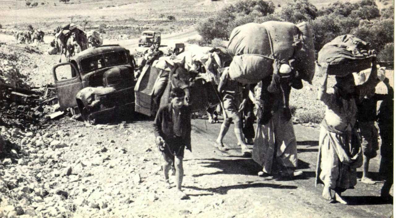 "Palestinian refugees fleeing their homes in 1948, from the front cover of ""The Birth of the Palestinian Refugee Problem"" by Benny Morris (Public Domain)"