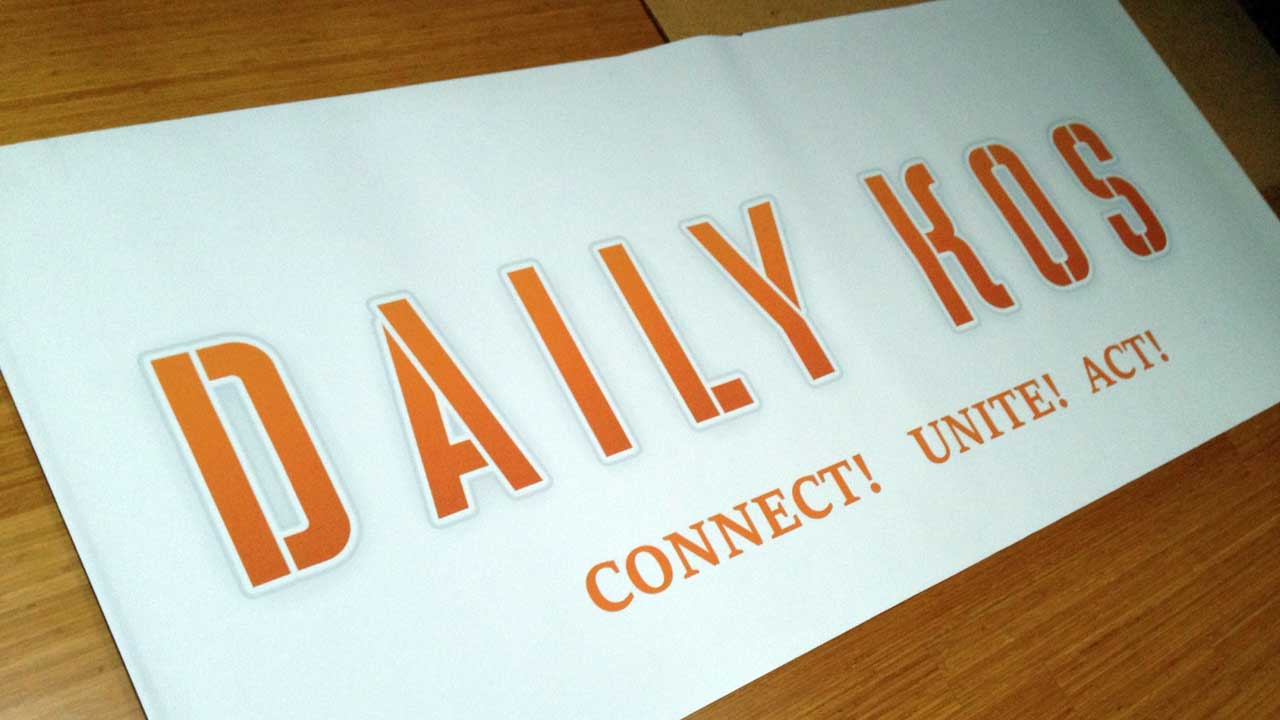 A Daily Kos banner (Photo: Neeta Lind/CC BY 2.0)