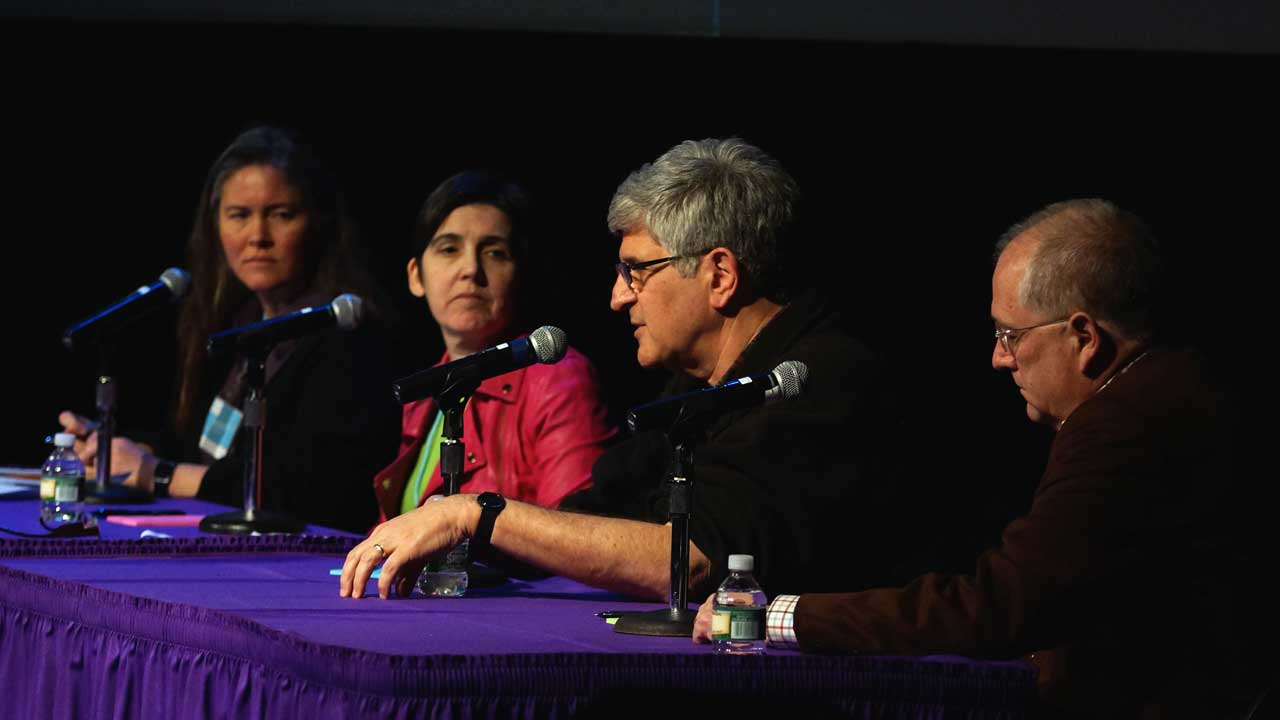 "Dr. Paul Offit (second from the right) participating in a panel discussion titled ""<a href=""https://www.youtube.com/watch?v=cTmxJimZXaE"">Scare Tactics? The Media Response to Infectious Disease</a>)"", held the Northeast Conference on Science and Skepticism in New York City on April 12, 2015. (<a href=""https://commons.wikimedia.org/wiki/File:NECSS_2015_Panel_on_Media_Scare_Tactics.JPG"">BDEngler</a>/<a href=""https://creativecommons.org/licenses/by-sa/4.0/deed.en"">CC BY-SA 4.0</a>)"