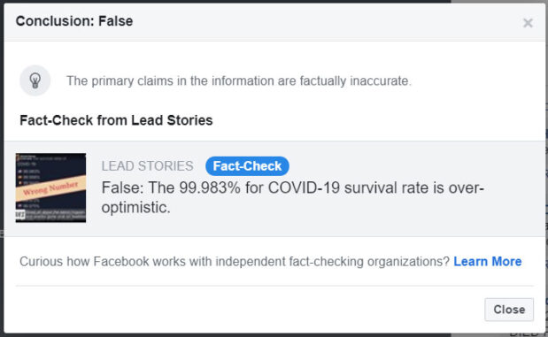 "Facebook ""Fact Check"" article on COVID-19 mortality rate"