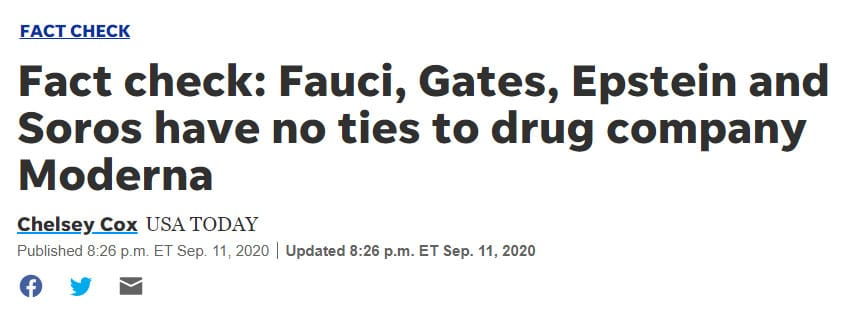 """The original USA Today headline falsely claimed that Anthony Fauci and Bill Gates have """"no ties"""" to COVID-19 vaccine manufacturer Moderna"""